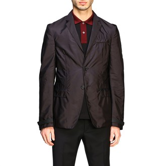 Prada Single-breasted 2-button Jacket In Feather Nylon With Velcro