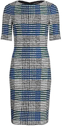 St. John Ribbon Plaid Knit Bateau Neck Sheath Dress