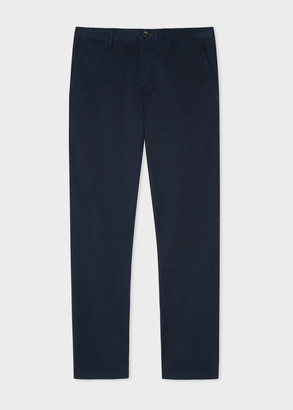 Men's Tapered-Fit Dark Navy Stretch-Cotton Chinos