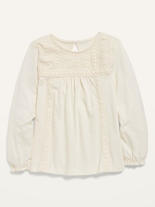 Old Navy Lace-Trim Long-Sleeve Jersey Top for Girls