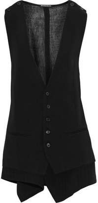 Ann Demeulemeester Gauze-paneled Wool And Cotton-blend Twill Vest