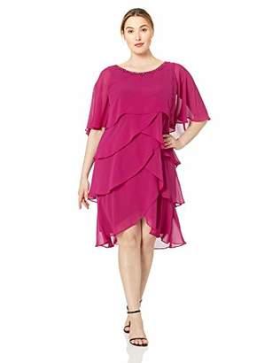 SL Fashions Women's Plus Size Capelet Tier Dress