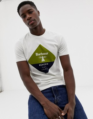 Barbour Beacon diamond large logo t-shirt in off white-Cream