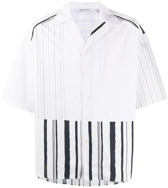 Neil Barrett Open Collar Striped Shirt