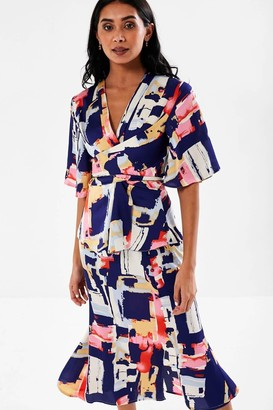 Monroe iClothing Abstract Print Tie Blouse in Navy