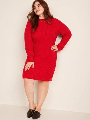 Old Navy Variegated-Knit Mock-Neck Plus-Size Sweater Dress
