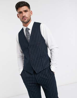 French Connection flannel chalk stripe slim fit suit vest-Navy