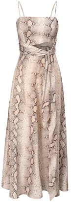 Zimmermann Bellitude Snake Print Linen Midi Dress