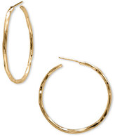 Argentovivo Women's Medium Hammered Hoop Earrings
