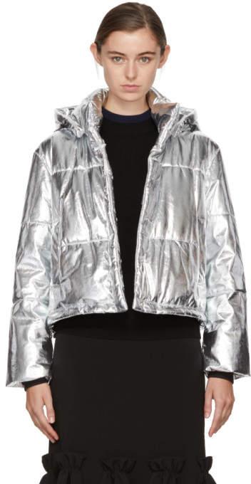 MSGM Silver Cropped Metallic Bomber Jacket