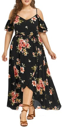 OYSOHE Plus Size Women Casual Short Sleeve Cold Shoulder Boho Flower Print Long Dress Black