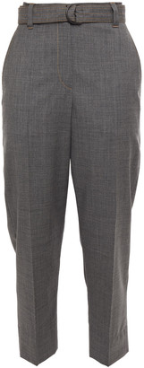 Brunello Cucinelli Cropped Belted Wool Tapered Pants
