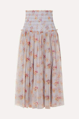 Needle & Thread Think Of Me Shirred Floral-print Tulle Midi Skirt - Sky blue