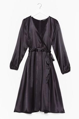 Nasty Gal Womens Plus Midi Leopard Satin Dress - Black - 16