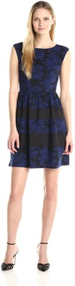 London Times Women's Cap Sleeve Solid Blocked Dress with Full Skirt