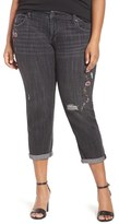 Melissa McCarthy Plus Size Women's Distressed Embroidered Pencil Jeans