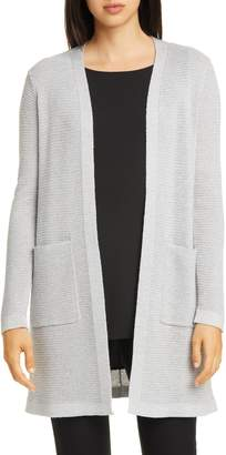 Eileen Fisher Shimmer Merino Wool Blend Straight Long Cardigan