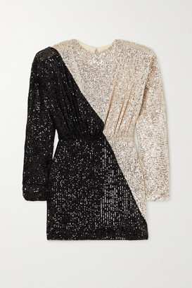 Rotate by Birger Christensen Billie Two-tone Sequined Stretch-knit Mini Dress