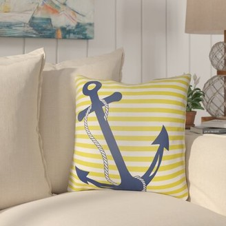 "Beachcrest Home Daina Anchor Indoor/Outdoor Throw Pillow Size: 18"" H x 18"" W x 3.5"" D, Color: Blue"