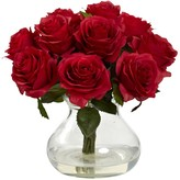 Nearly Natural Red Rose Arrangement with Vase