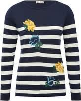 M&Co Stripe print floral embroidered jumper