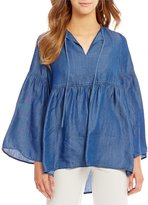 Jones New York Denim Bell Sleeve Peasant Top