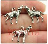 Nobrand No brand 3pcs 2620mm antique silver wolf charms