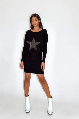 Divine Grace Black Star Dress with Loose Fit