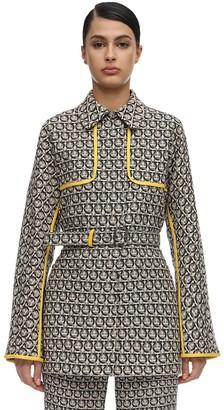 Salvatore Ferragamo Cotton Jacquard Jacket W/ Leather Piping