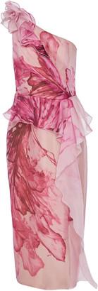 Marchesa Floral-Print One-Shoulder Silk Peplum Dress