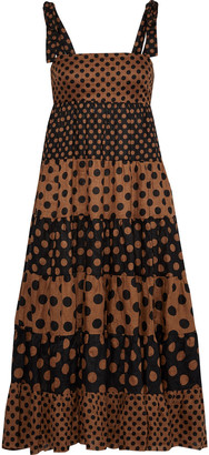 Zimmermann Juno Bow-detailed Polka-dot Linen Midi Dress