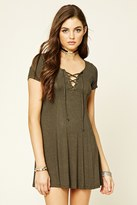 Forever 21 FOREVER 21+ Striped Lace-Up T-Shirt Dress