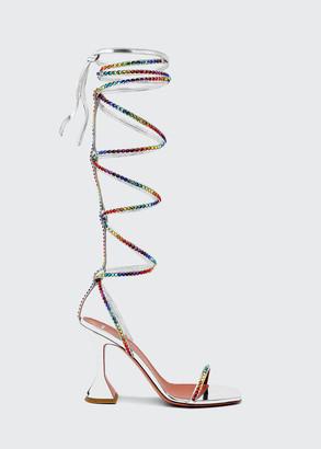 Amina Muaddi x AWGE LSD 95mm Mirror Gladiator Wraparound Sandals, Silver