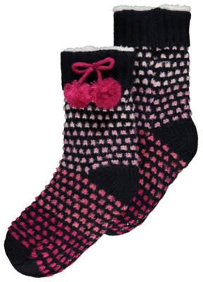 George Navy Knitted Fleece Lined Slipper Socks