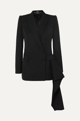 Alexander McQueen Asymmetric Draped Grain De Poudre Wool Blazer - Black