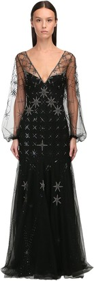 Temperley London Crystal Embroidered Georgette Dress