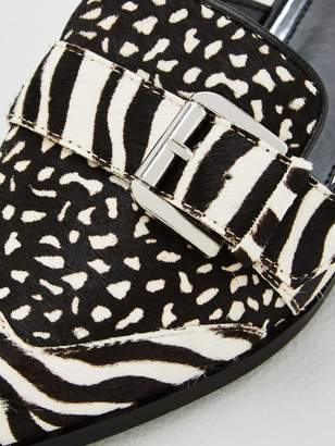 Very Karly Leather Point Toe Flat Buckle Mules - Zebra