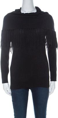 Michael Kors Black Lurex Cowl Neck Fringe Detail Knit Sweater XS