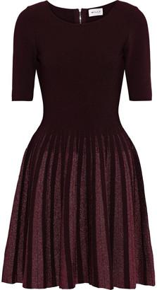 Milly Flared Metallic-trimmed Ponte Mini Dress