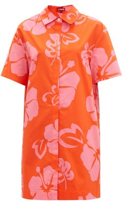 STAUD Honu Hibiscus-print Cotton-blend Shirt Dress - Red Print