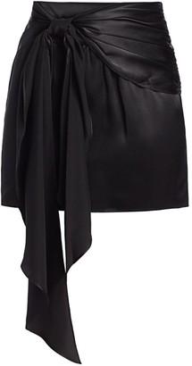 Mason by Michelle Mason Sash-Tie Silk Mini Skirt