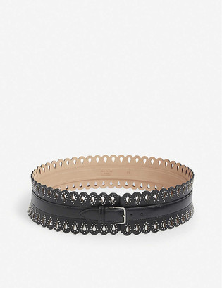 Azzedine Alaia Studded laser-cut leather corset belt