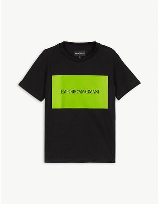 Emporio Armani Neon logo cotton T-shirt 4-16 years