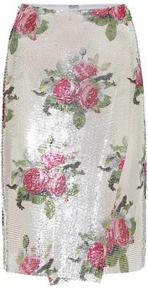 Paco Rabanne Floral mesh midi skirt