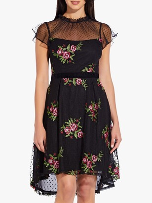 Adrianna Papell Ruffle Collar Rose Dress, Black Multi