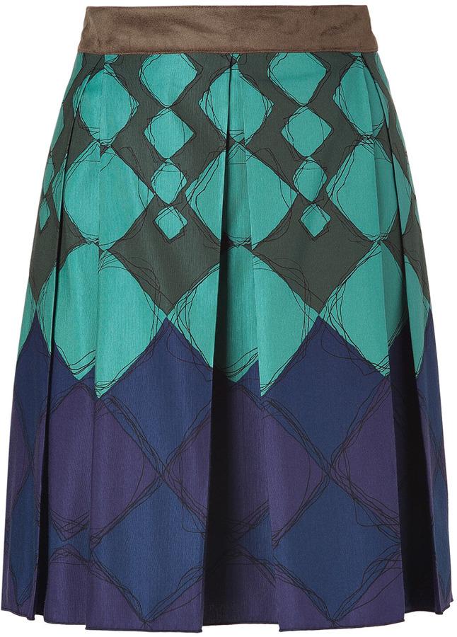Anna Sui Seafoam-Multi Cotton-Silk Harlequin Skirt