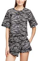 Motel Women's Mian Animal Print Crew Neck Short Sleeve Top