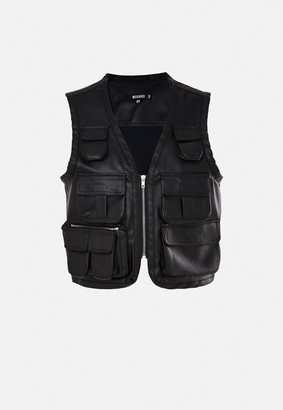 Missguided Black Faux Leather Utility Vest