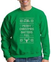 VISHTEA Merry Christmas Shitter Was Full Crewneck Eddie Funny Ugly Sweater Sweatshirt Irish Green 1049