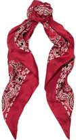 Saint Laurent Printed Silk-twill Scarf - Red